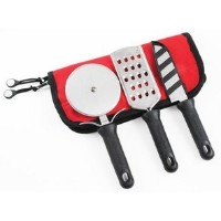 ProfessionalピザMeisterキット–3ピース、ピザカッターホイールwith Cheese Grater and mini-santoku inロールバッグ