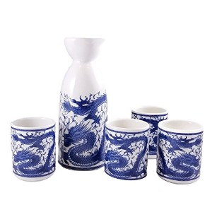 Happy Sales Royal Dragon Japanese Sake Set, White and Blue by Happy Sales