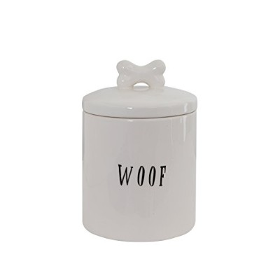 Creative Co-op Ceramic Woof Jar with Bone, White by Creative Co-op