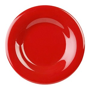 Excellant? Crimson Melamine Collection 6-1/2-Inch Wide Rim Round Plate, Pure Red, 12-Piece [並行輸入品]