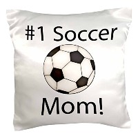 """Anne Marie Baugh–Phrases–サッカーボールwith # 1Soccer Mom–枕ケース 16"""" x 16"""" pc_213931_1"""