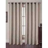 High Quality Luxurious Heavy Weight Jacquard Window Curtain Panel Set 54 X 84 inch (Set of 2), Cream