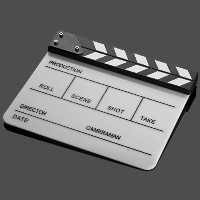 Professional Black & White Acrylic Clapper Board Slate With Stick For TV Film Home Movie Action...