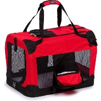 Folding Deluxe 360テつー Vista View House Pet Crate, Medium, Red by Pet Life