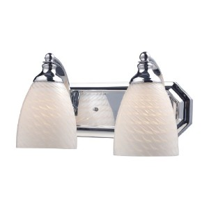 Elk 570–2C-ws 2-light Vanity in Polished Chrome andホワイトSwirlガラス