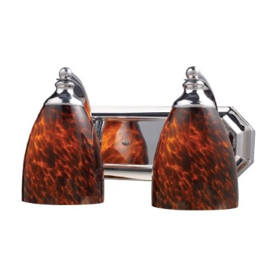 Elk 570 – 2 C-es 2-light Vanity in Polished Chrome andエスプレッソガラス