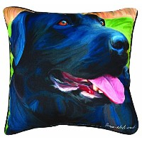 Manual Handsome Black Lab Paws and Whiskers Decorative Square Pillow, 18-Inch by Manual Woodworker ...