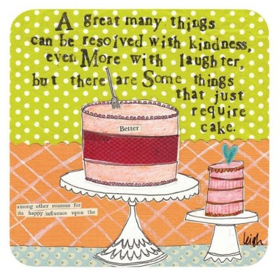 Boston International Cork Coasters, Require Cake by Curly Girl, Set of 4