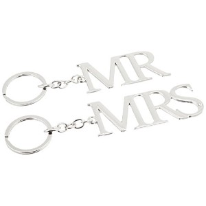 """Amore Set Of Two Silverplated Key rings """"Mr & Mrs"""""""