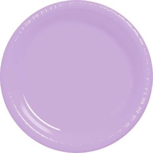 Amscan Big Party Pack 50 Count Plastic Dessert Plates, 7-Inch, Lavender [並行輸入品]