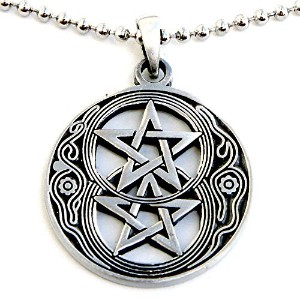 Pentacle Star WiccanウィッカペンダントinシルバーChalice Well W Double Pentagram Pewter wシルバーボールチェーン