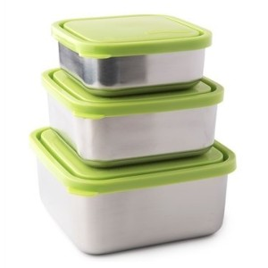 U Konserve UK089 Stainless Steel Square Nesting Containers, Lime - Set of 3 by U Konserve