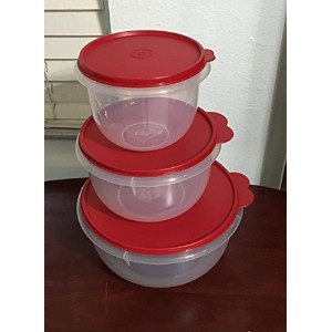 Tupperware 3 PieceクラシックMixing Bowl Set withレッドシール