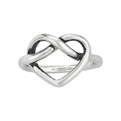 Designs by Nathan 925シルバーPretzel Knotハートリング、快適なLove Intertwined With infinity-symbol