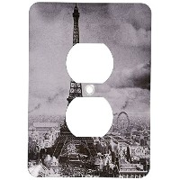 High Quality LLC lsp_6793_6 Eiffel Tower Paris France 1889 Black and White, 2 Plug Outlet Cover