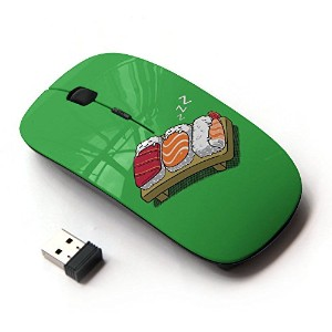 KOOLmouse [ ワイヤレスマウス 2.4Ghz 無線光学式マウス ] [ Sushi Food Fish Japanese Rice Cartoon Drawing Art ]