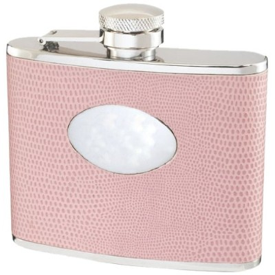 Visol Synthetic Wrapped Stainless Steel Flask, Lizard Skin Pattern, 120ml, Pink