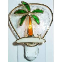 Palm Tree Island Stained Glass Night Light