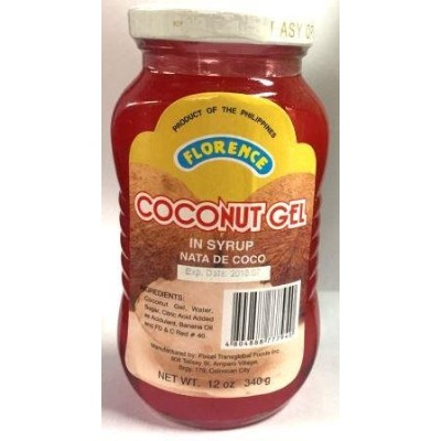 FLORENCE COCOONUT GEL IN SYRUP NATA DE COCO (RED) 紅 340g 果物のシロップ漬け ナタデココ
