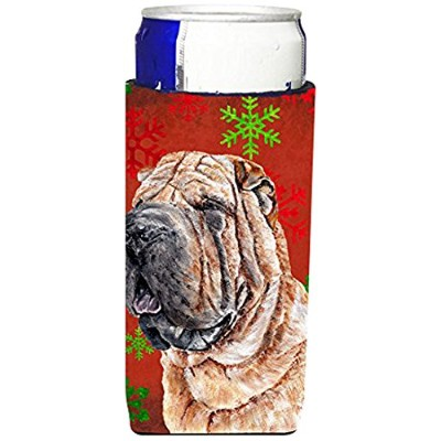 Shar PeiレッドSnowflakes Holiday Ultra Beverage Insulators forスリム缶sc9743muk