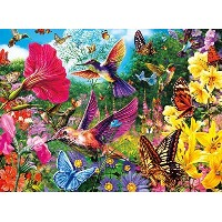 (バッファローゲーム ジグソーパズル) Buffalo Games Hummingbird Garden Jigsaw Puzzle from the Vivid Collection (1000 P