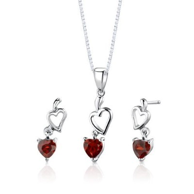 Sterling Silver Rhodium Finish 2.00 carats total weight Heart Shape Garnet Pendant Earrings and 45...
