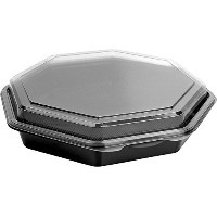 SOLO 864611-PS94 Creative Carryouts OctaView Polystyrene Hinged Cold Food Container, Octagonal, 9.6...