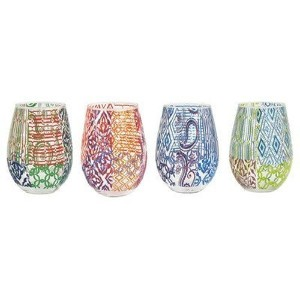 The Jay Companies Tracy Porter Assorted Stemless Glass (Set of 4), Multicolor by The Jay Companies