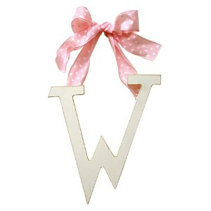 New Arrivals Wooden Letter W with Pink Polka Dot Ribbon, Cream by New Arrivals