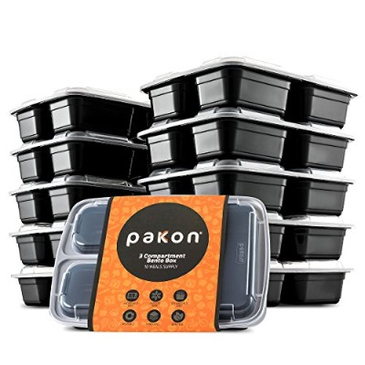 Pakkon 3 Compartment Bento Box / Durable Plastic Lunch Container with Airtight Lid ?Use For 21 Day...