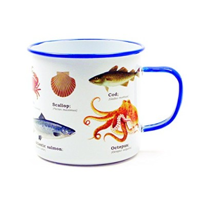 Gift Republic GR270102 Sealife Enamel Mug, Multicolor