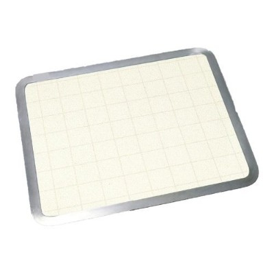 (15 X 12) - Almond Graphic Built-in Surface Saver Tempered Glass Cutting Board with Stainless Steel...