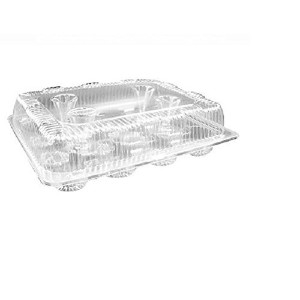 Oasis Supply PJP LBH-9222-1 12-Compartment Cupcake Container with Hinged Lid, Clear [並行輸入品]