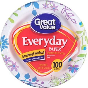 "GREAT VALUE 8 5 / 8 "" Heavy Duty Premium Party Paper Plates , 100 ct – ColoredパターンMay Vary 8 5/8""..."