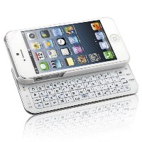 Naztech N5200 Ultra-Thin Bluetooth Wireless Slideout Keyboard Case for Apple iPhone SE/5S/5-White ...
