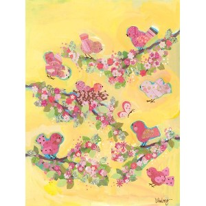 Oopsy Daisy Yellow Blossom Birdies Stretched Canvas Wall Art by Winborg Sisters, 18 by 24-Inch by...