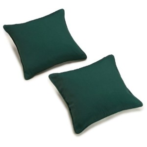 Blazing Needles Twill 18-Inch by 18-Inch by 5-1/2-Inch Throw Pillow, Forest Green, Set of 2 by...
