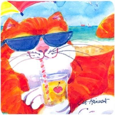 Carolines Treasures 6118FC Cool Cat With Sunglasses At The Beach Foam Coasters - Set 4