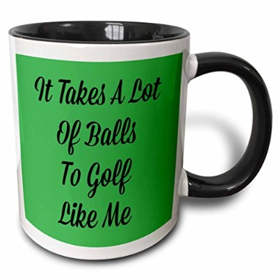 Xander面白い引用 – It Takes a Lot of Balls to Golf Like MeブラックLetters on Green Back – マグカップ 11 oz ホワイト mug_200729_4