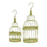 Deco 79 Metal Round Bird Cage, 19 by 15-Inch, Green, Set of 2 [並行輸入品]