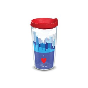 Tervis Chicago Skylineラップ16oz Tumbler withレッド蓋、クリア