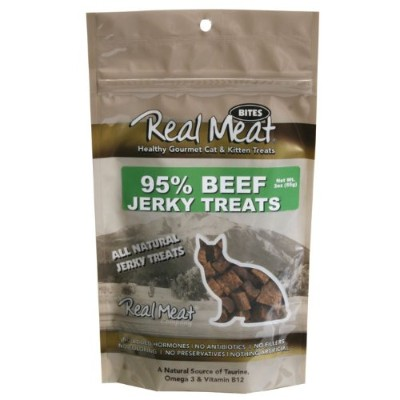 THE REAL MEAT COMPANY 828103 Cat Jerky Beef Treat, 3-Ounce by The Real Meat Company