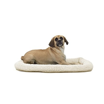 NAP Pet Bed Sherpa Faux Lambswool Bolster Pet Bed, Large Fits 24 x 36 by Furhaven Pet