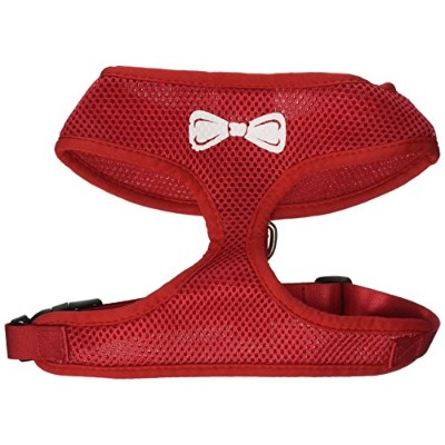 Mirage Pet Products 70-33 LGRD Bow Tie Screen Print Soft Mesh Harness Red Large