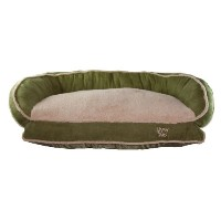 Happy Tails Micro Suede Bolster Bed for Pets, 35 by 24-Inch, Sage by Happy Tails