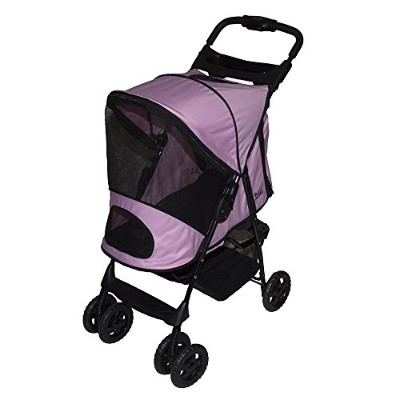 Pet Gear Happy Trails Plus Pet Stroller with Weather Guard for cats and dogs up to 30-pounds, Pink...