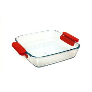 Marinex Prediletta Large Square Glass Roaster with Red Silicone Handles, 4-Quart [並行輸入品]