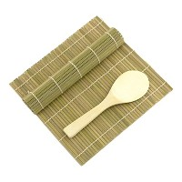 Green/Green Bamboo Sushi Rolling Kit Mat With Rice Paddle Set by JapanBargain
