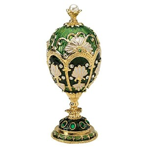 Design Toscano The Petroika Larissa Faberge-Style Enameled Egg in Green by Design Toscano