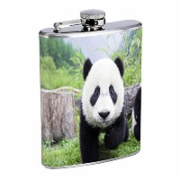 Panda Flask D1 8oz Stainless Steel Giant Bear Black and White Cute Fluffy Rare by Perfection In...